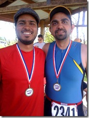 AleemAndMeFinishLine (Aleem with the 10k Run under his belt)